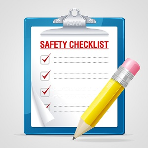 Drawing of clipboard with paper safety checklist and pencil.