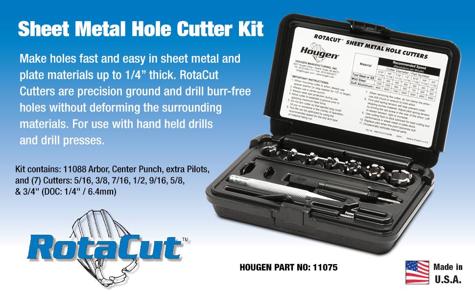 Hougen 11075-11,000 Series Sheet Metal Hole Cutter Kit