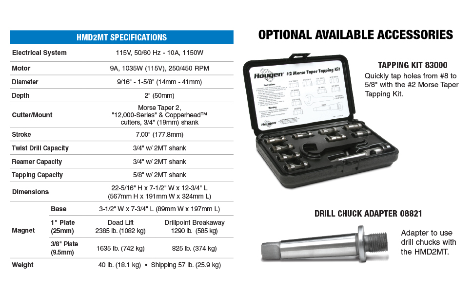 """Hougen HMD2MT Tapping Kit Drill Holes Through Material Up to 2"""" Thick and Tap Holes Up to 5/8"""""""