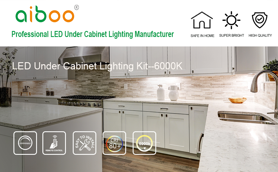 SQUARE XL Very Bright Cool White LED Light Under Cabinet Shelf Cupboard Kit of 5