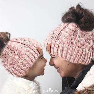 knit beanie hat ponytail messy bun winter hat women