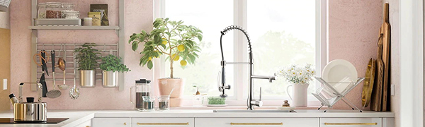 Flg Commercial Style Single Handle Pull Down Kitchen Sink Faucet