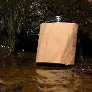 Real Wooden Flask, wooden hip flask, made in USA