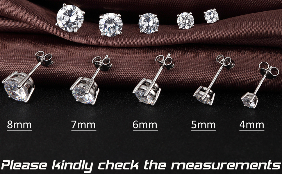 daee423e0 Simple Silver Stud Earrings Sterling Silver Round Cut Cubic Zirconia Stud  Earrings