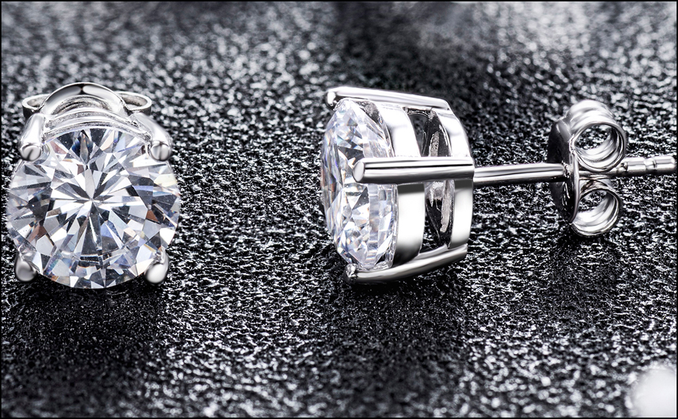 2e43ab0c8 925 Sterling Silver Round Cut Cubic Zirconia Stud Earrings with Rhodium  Plated(18K White Gold Plated)