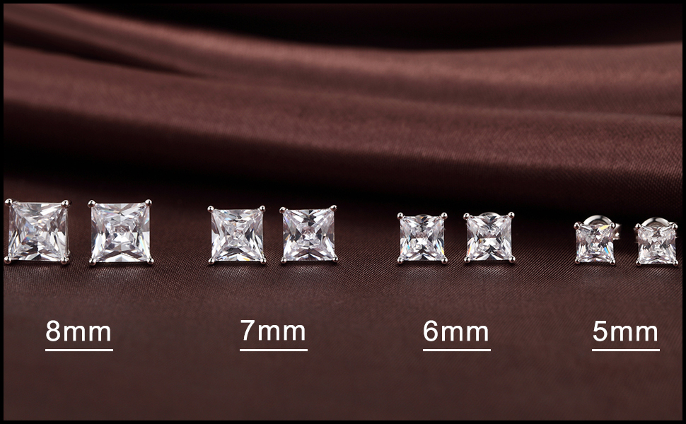 Amazon Com Princess Cut Square Cubic Zirconia Stud Earrings 925