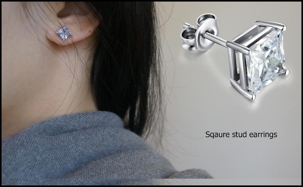 STERLING SILVER CZ STUD EARRINGS HEAVY SOLID 5MM SQUARE CUBIC ZIRCONIA PIERCED