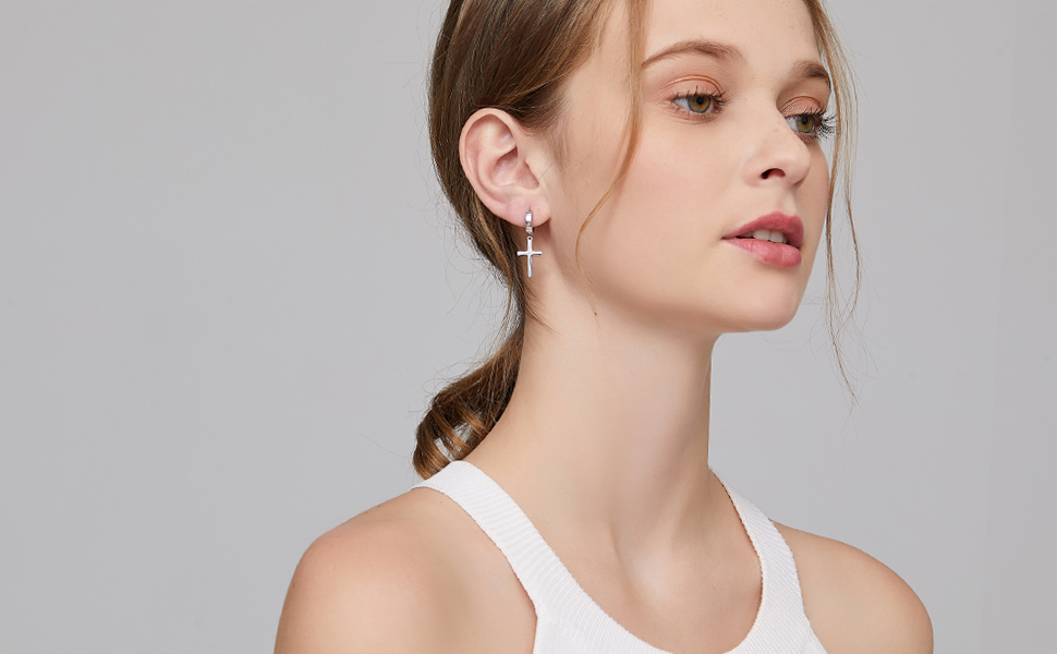 incredible prices coupon codes best loved Amazon.com: Simple Cross Dangle Earrings Sterling Silver Cross ...