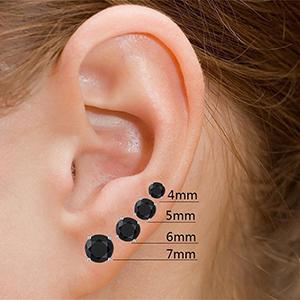 53107534a Black Cubic Zirconia Earrings Black CZ Earrings Black Earring Studs Men