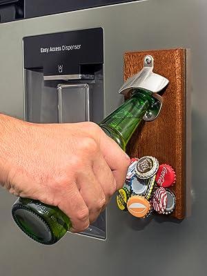wall mount mounted beer bottle opener magnetic cap catcher magnet fridge refrigerator wooden plaque