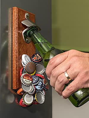 fridge mounted bottle opener wooden beer gifts for men for christmas present husband dad brother law