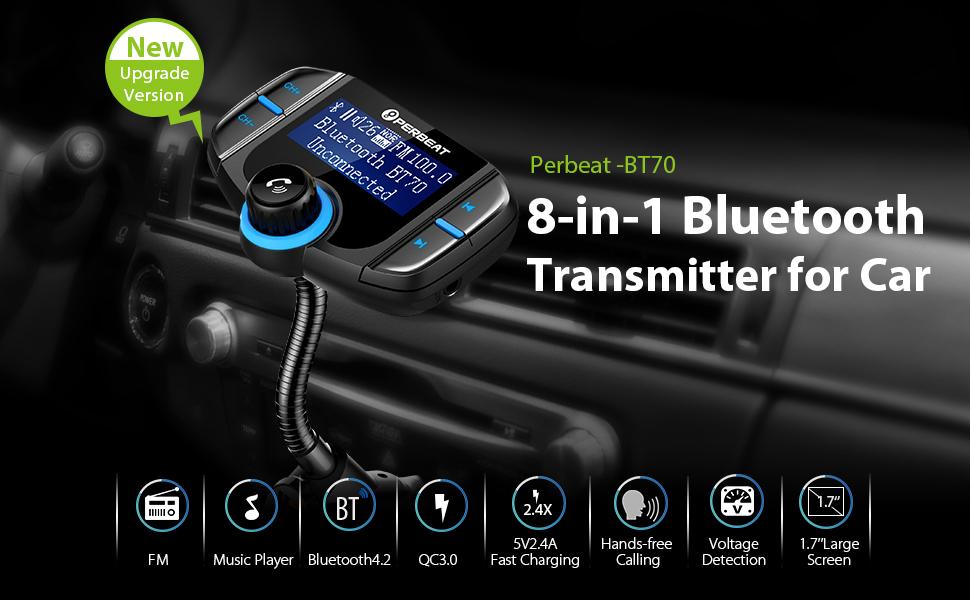 6 7 Plus max 32G PERBEAT Bluetooth Trasmettitore FM per Auto Chiamate Hands-free Unit/à USB Samsung Galaxy S6//S6 Edage//S7//S7 5s SE 6s Doppia ricarica USB per iPhone 7