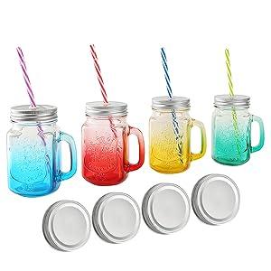 tosnail 15 oz mason jar mugs with handle tin lid and plastic straws old fashion drinking glasses set of 4 colors - Mason Jar Drinking Glasses