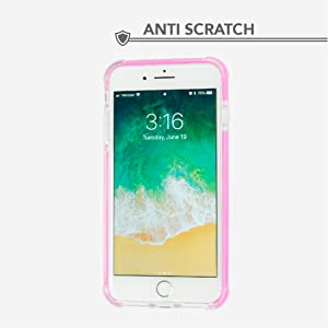 Frontal shot of white iPhone with clear case and pink edging on white background
