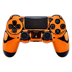 Chrome Orange Faceplate Cover Front Housing Shell for Playstation 4 PS4 Slim Pro Controller #2