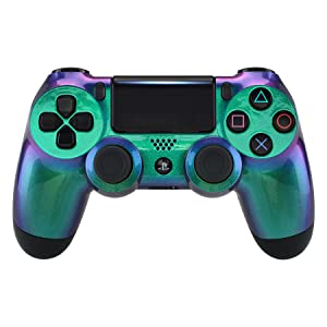Green Purple Chameleon Front Housing Shell Faceplate for Playstation 4 PS4 Slim Pro Controller 2