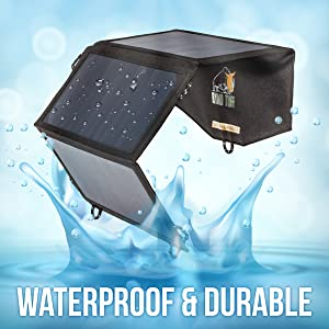 Ryno-Tuff Portable Solar Charger for Camping - 21W Foldable Solar Panel Charger 2 USB Ports - Waterproof & Durable, Compatible with iPhone, iPad, ...