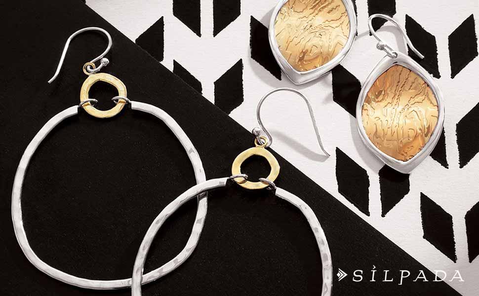 Silpada /'Dynamic Duo/' Sterling Silver and Brass Earrings