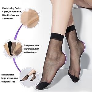 20D Sheer ankle high tights hosiery socks