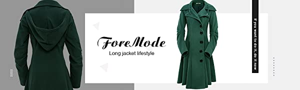 ForeMode Womens Double Breasted Mid-Length Trench Coat Classic Overcoat