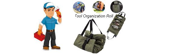 carpintero o mec/ánico TYDB314 TUYU Tool Roll Wrench Roll Bag HVAC Organizador de herramientas de lona encerada fontanero 4 bolsas Roll Up Tool Bag para electricista