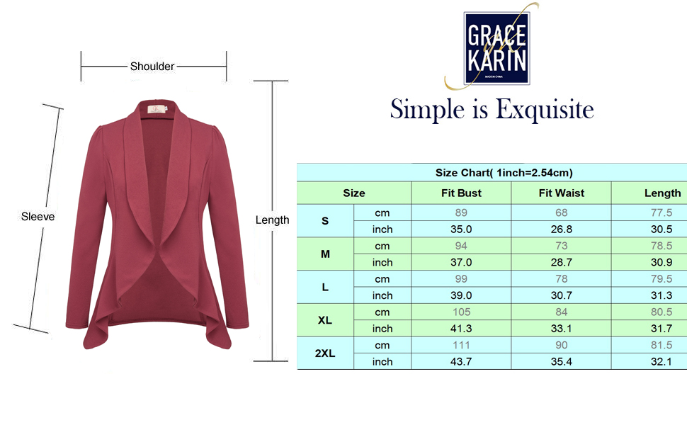 women's casual work office open front blazer jacket