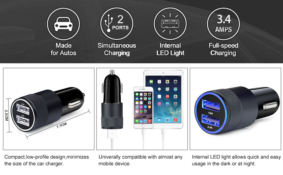 Amazon.com: Car Charger,Sicodo 2-Pack 3.4A Dual USB Port ...
