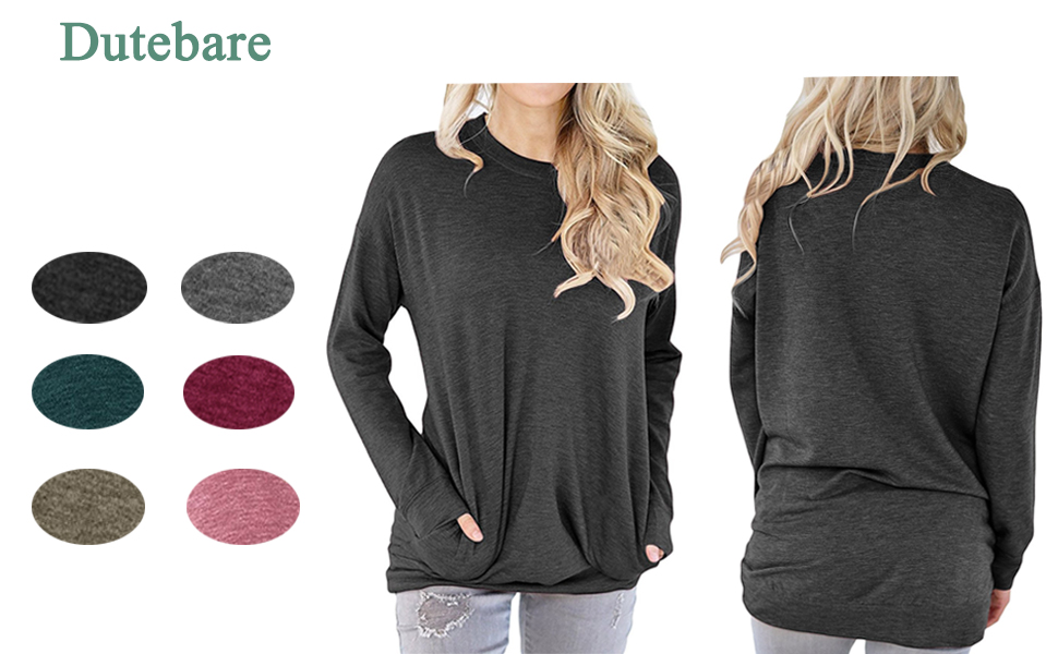 a25d85d33ec Dutebare Womens Long Sleeve Round Neck Tunic Tops Slouchy Pullover Loose T  Shirt Blouse
