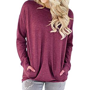 269180fb9fa Dutebare Women Long Sleeve Round Neck Sweatshirt Pocket Pullover ...