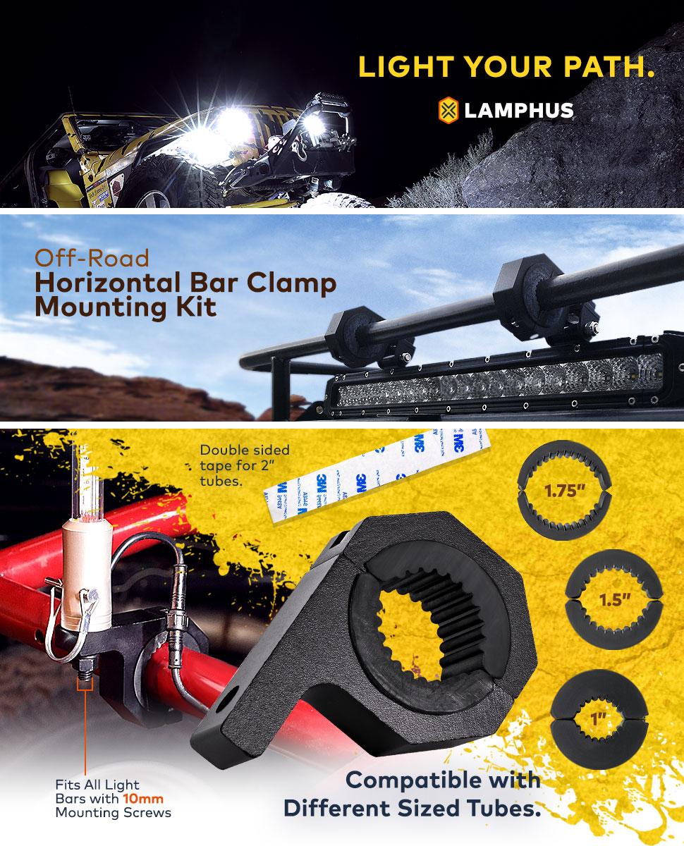 Lamphus Cruizer Led Off Road Light Horizontal Bar Clamp Fuse Box Mounting Kit