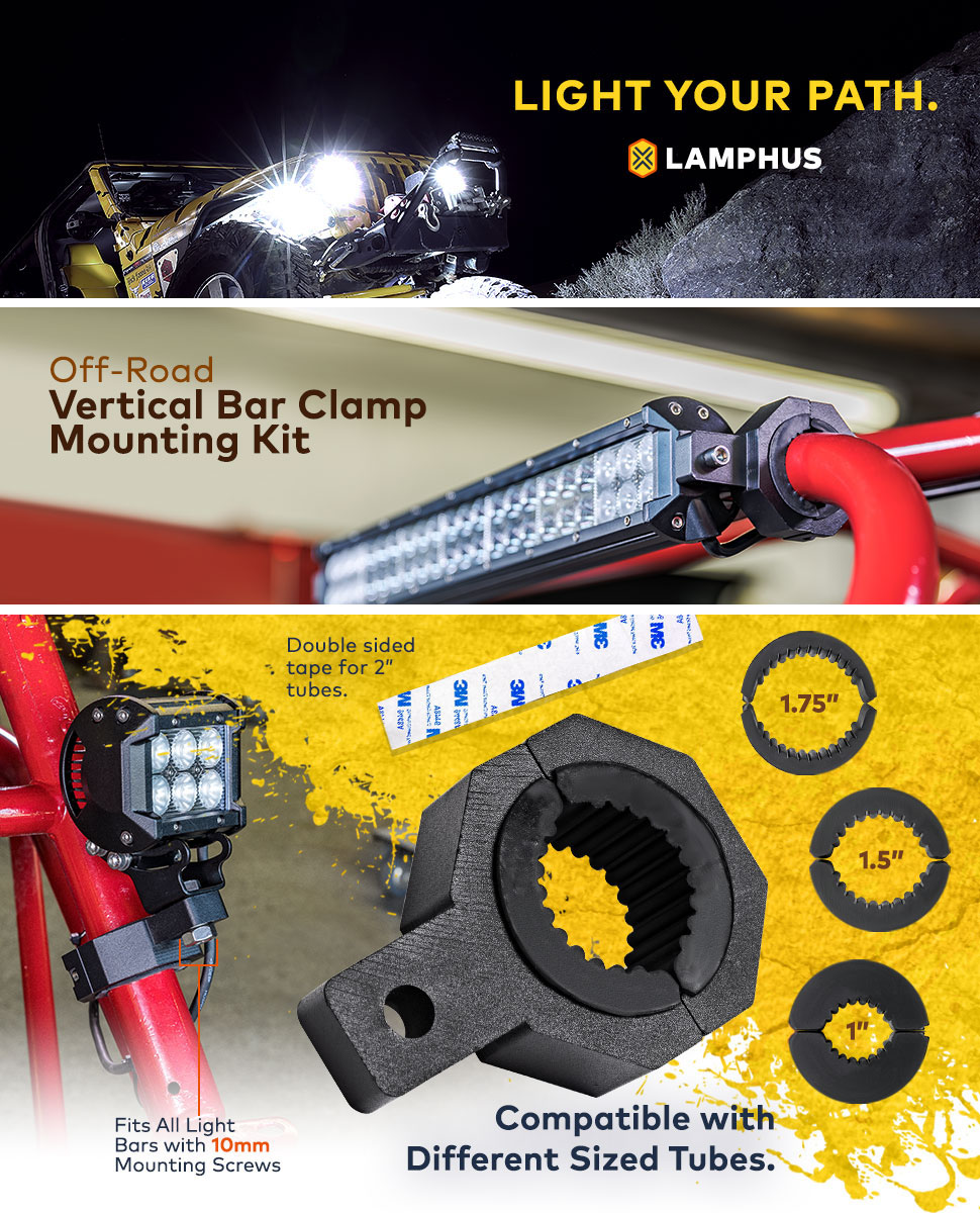 Lamphus Cruizer Led Off Road Light Vertical Bar Clamp Car Blue Red Rocker Switch Wiring Harness With 40a Relay Mounting Kit
