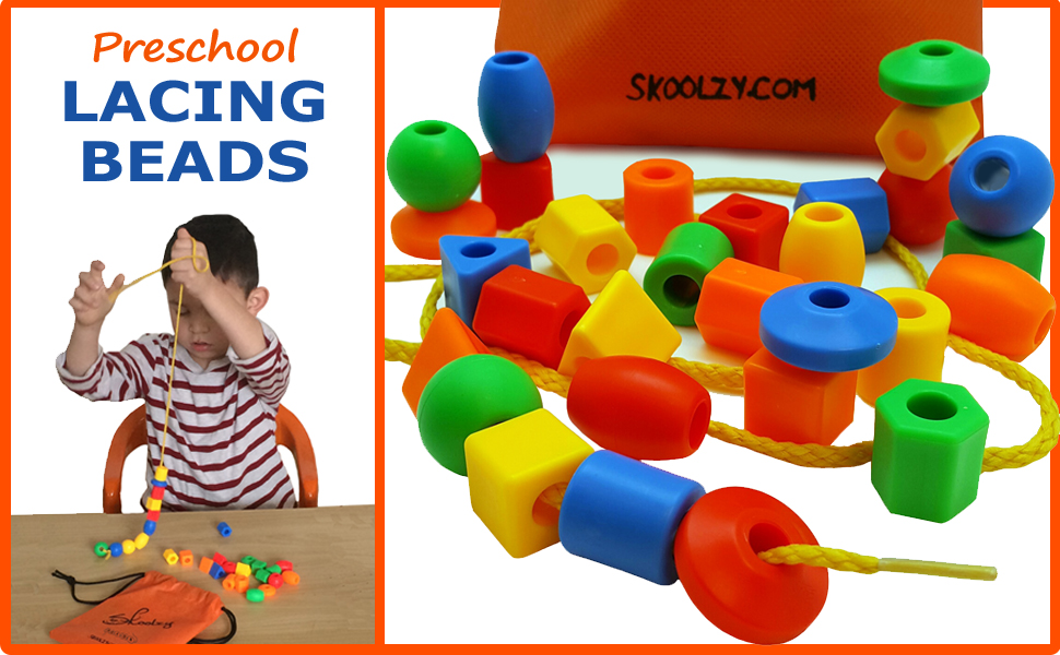 lacing beads for kids, preschool learning toys, skoolzy toys, educational toys, montessori toys