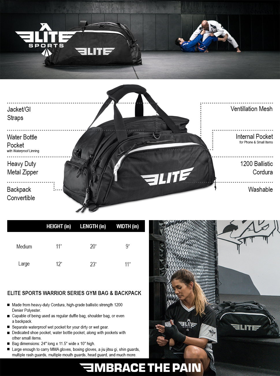 f93e2a8a0836 Elite Sports NEW ITEM Warrior Series Boxing MMA BJJ Gear Gym Duffel ...