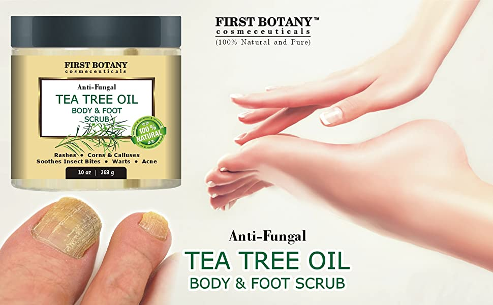 100% Natural Anti Fungal Tea Tree Oil Body & Foot Scrub with Dead Sea Salt  - Best for Acne, Dandruff and Warts, Helps with Corns, Calluses, Athlete