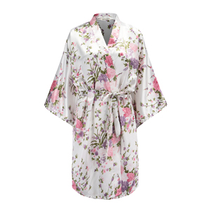 a2a8161c5c EPLAZA Women Floral Satin Robe Bridal Dressing Gown Wedding Bride ...