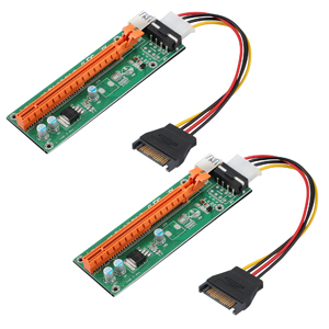 ESYNIC 2Pcs PCI-E USB 3.0 Cable Express 16x to 1x Extender Riser Card PCIE Riser with 60cm Extension Cable and 15Pin SATA to 4Pin Power Cable for PC Desktop ETH Bitcoin Mining