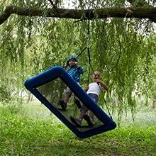 2 kids swinfing on a plarform swing