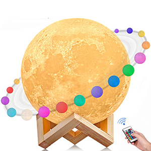 ALOVECO 3D Printing 16 Colors RGB LED Moon Light with Stand
