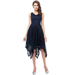 Meetjen Womens Vintage Floral Lace Dress Handkerchief Hem Asymmetrical Cocktail Formal Swing Dress