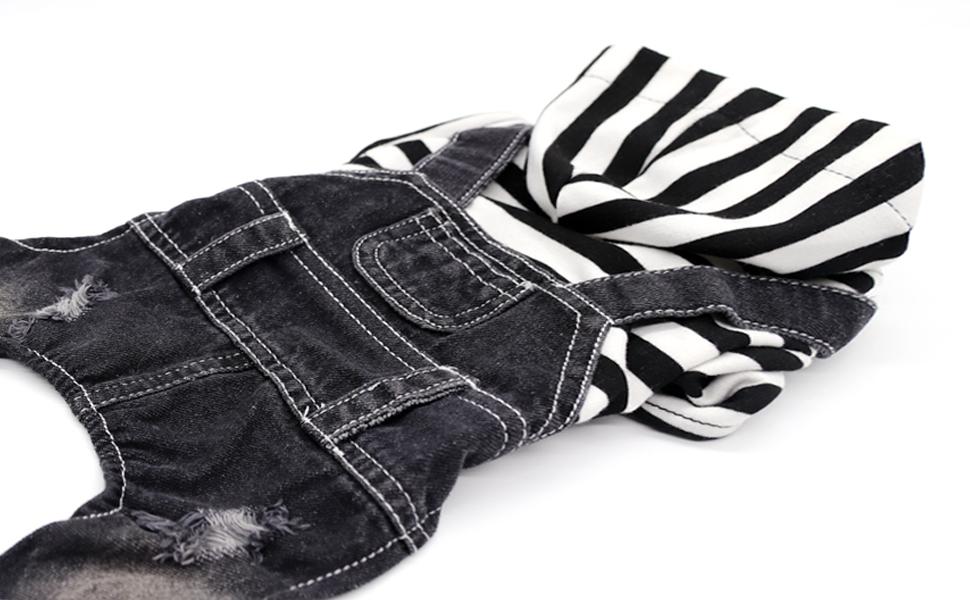SILD Pet Denim Jumpsuit Dog Jeans Hoodies Cool Blue Coat Medium Small Dogs Classic Jacket Puppy Blue Vintage Washed Vests