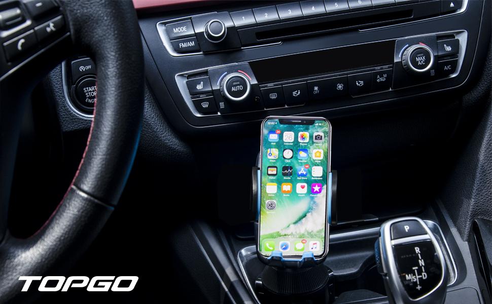 TOPGO Universal Adjustable Cup Holder Phone Mount Blue Grip