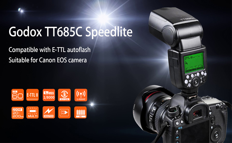 GODOX TT685C Thinklite TTL Camera Flash 2 4GHz High Speed 1/8000s GN60  Compatible for Canon EOS Cameras E-TTL II Autoflash (TT685C)