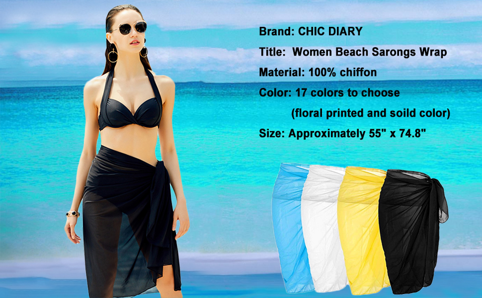 8187d7e6e5615 Amazon.com: CHIC DIARY Women Chiffon Pareo Beach Wrap Sarong ...