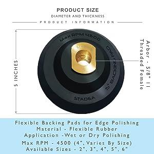 4 Inch Rubber Semi Rigid Flexible  Backer Pad M14 Thread