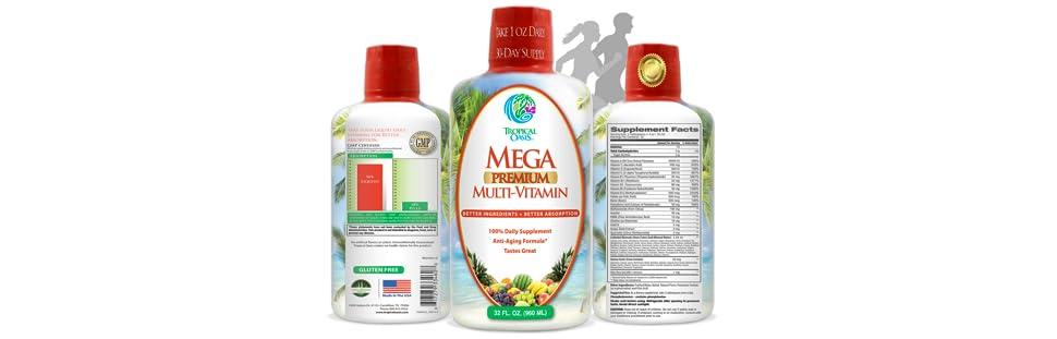Mega Premium Liquid Multivitamin   Natural Immune Support Vitamin w/ 1333% Vitamin C, 200% D3, Zinc + 20 Vitamins, 70…