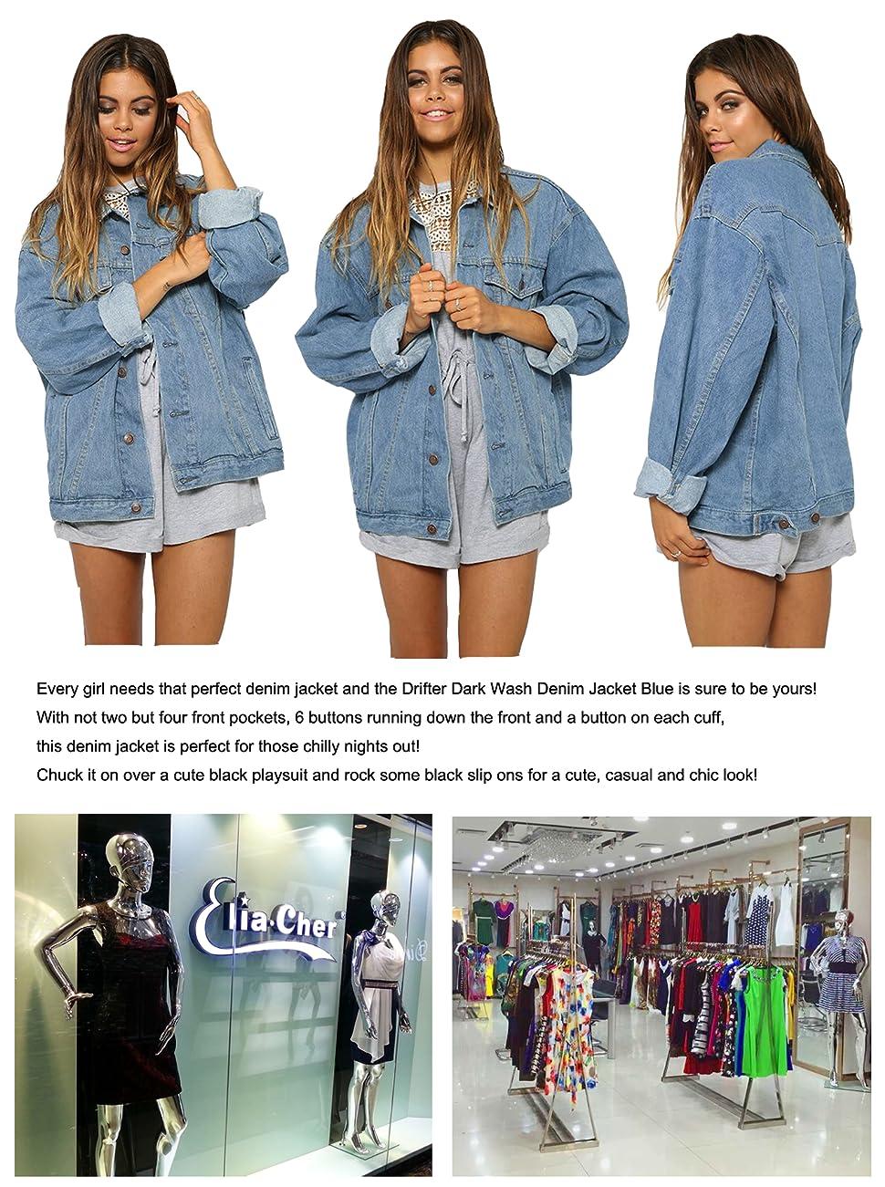 Vintage  Womens Mid Blue Denim Jacket Long Sleeve Loose Fit Casual Jean Style