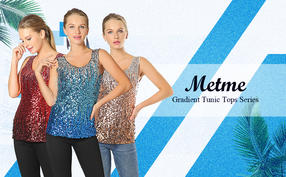 Women Gradient Sequin Summer Tops V Neck Tanks Shirts