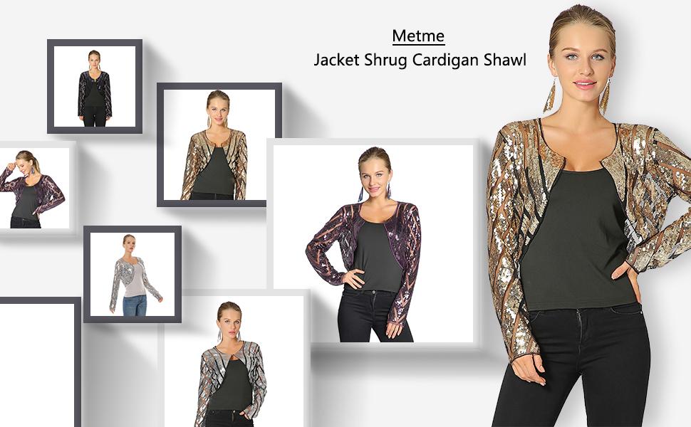 2b9279aa83 Metme Women Evening Wrap Shawl Bridal Stole 1920's Flapper Bolero Sequined  Jacket Cape Cropped Shrug Cardigan