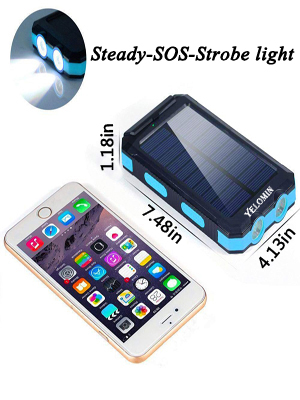 Solar battery has  2 led lights can be used as flashlight with Steady-SOS-Strobe mode.