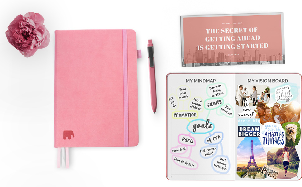 Simple Elephant Planner 2020 - Daily, Weekly, Monthly Agenda - Undated Productivity Journal - Gratitude, Life & Goal, Success (Pink)